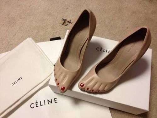 lacollectionneuse:  セリーヌ ペディキュアパンプス かわいいです! nudie cone heel pumps • céline80,000 円