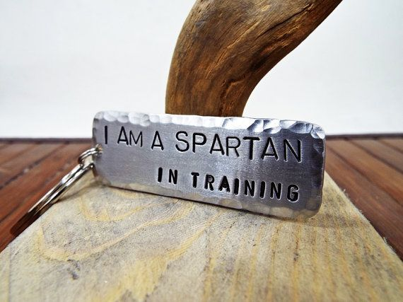 I Am A Spartan In Training Keychain  by Aluminiopassions on Etsy