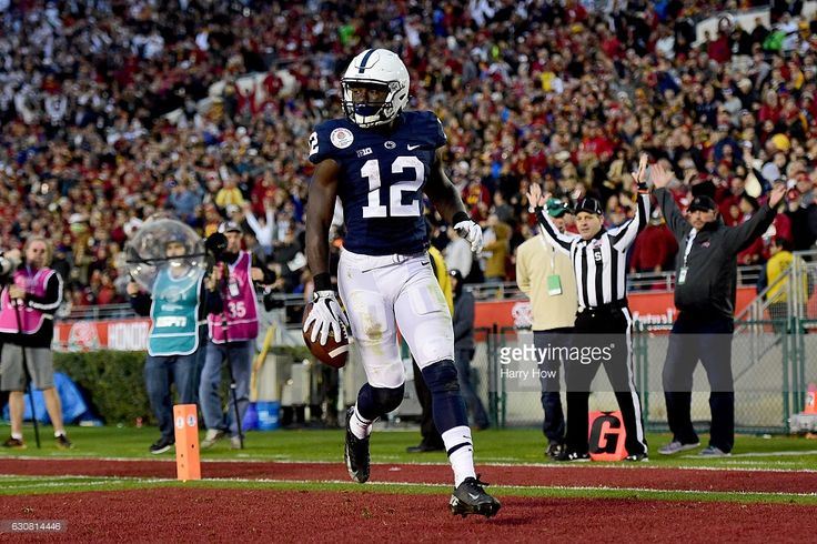 Wide receiver Chris Godwin #12 of the Penn State Nittany Lions reacts after scoring a 72-yard touchdown in the third quarter against the USC Trojans during the 2017 Rose Bowl Game presented by Northwestern Mutual at the Rose Bowl on January 2, 2017 in Pasadena, California.