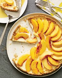 Creamy Peach Tart with Smoky Almond Crust  - Fruit Pies and Tarts from Food & Wine