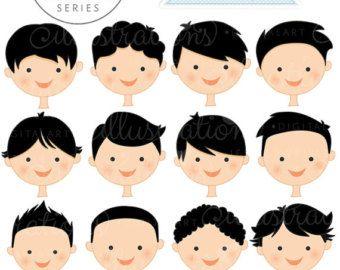 Caras de niño de piel oscura crear una serie por JWIllustrations