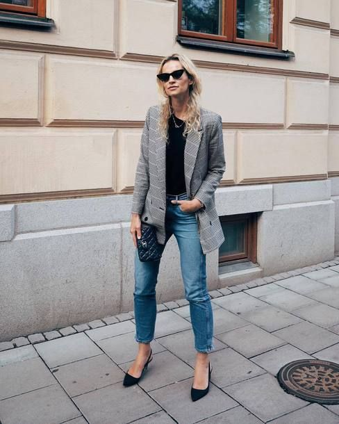 b4af7dd1059 jacket tumblr blazer grey blazer top black top denim jeans blue jeans  sunglasses cat eye pumps bag