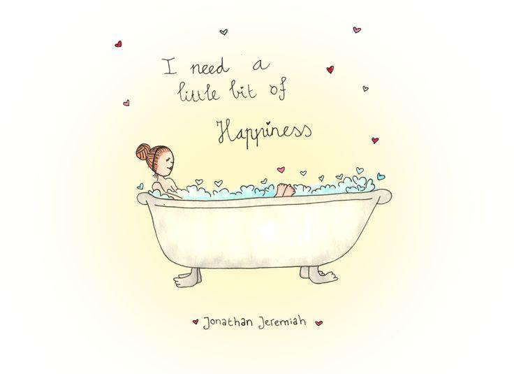 I need a little bit of happiness... Illustratie gemaakt met ecoline door Jiska Clevering-Hartsuiker. Workshops bij Sterrig.