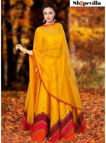 Navratri Collection Yellow Color Raw Silk Lehenga Choli-FKFBL062