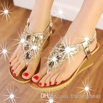 2014 New Women Flip Flops Bohemian Summer Sandals Shoes Silver Gold Shiny Luxury Gem Beading Low-heeled Wedge Sandals EPacket $27.81 | DHgate.com