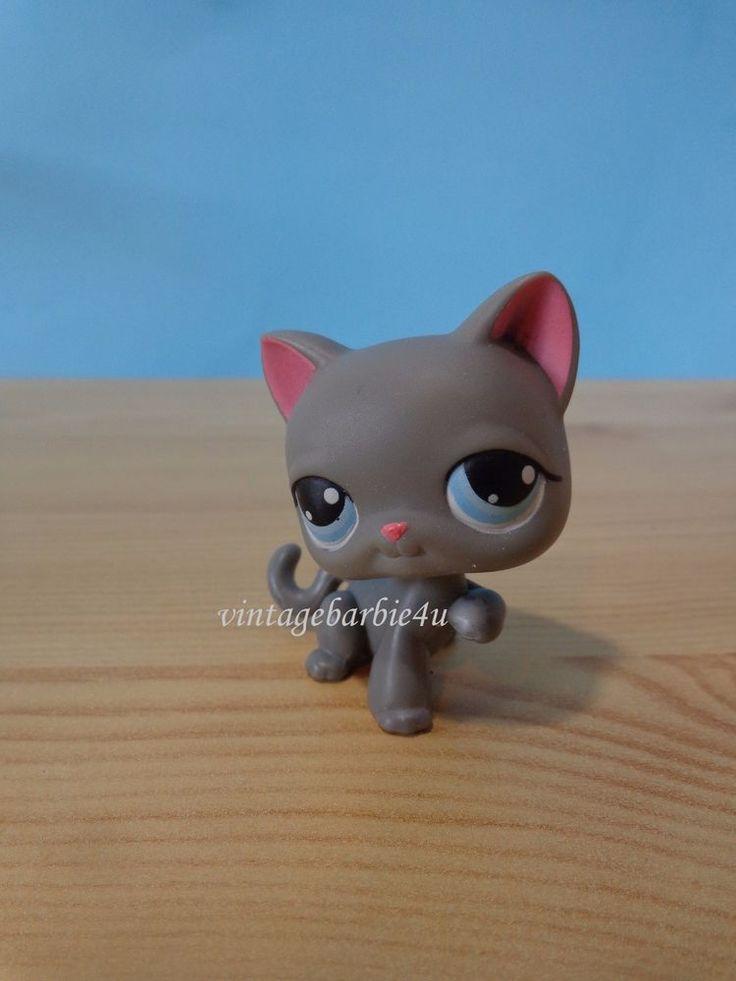 Littlest Pet Shop LPS #74 Grey Cat Short Hair, blue eyes with raised paw Kitten #Hasbro