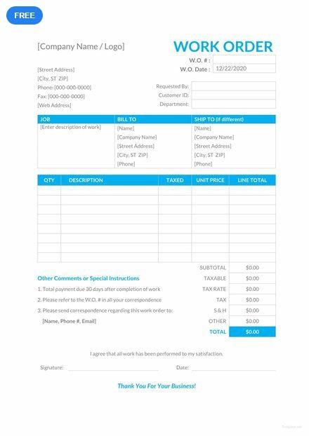 work order sheet template