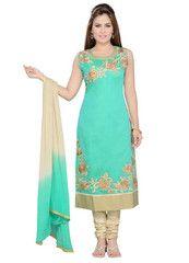 Sea Green Color Art SilK Ready-made Salwar Suits ( Sizes - 36, 38, 40, 42, 44 ) : Shailja Collection  YF-42366