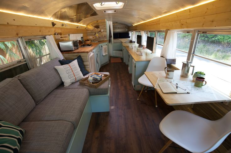 Welcome to the Outside Found School Bus Conversion Tour! Tons of photos of our finished Skoolie, from living room to kitchen and even full bathroom!