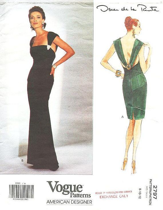 Sz 8/10/12 Vogue Dress Pattern 2797 by OSCAR by ThePatternSource, $44.00