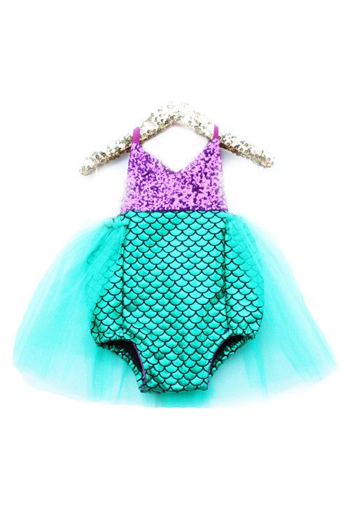 Little Mermaid Sparkle Romper With Emerald Tutu READY TO SHIP #bellethreadspinterest