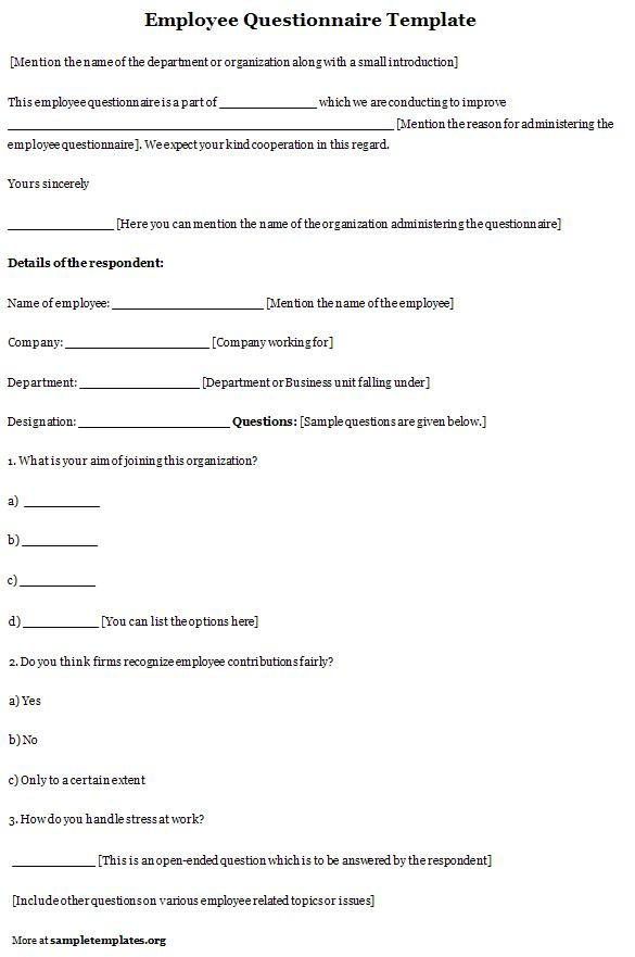 7 best images about Employee Questionnaire on Pinterest