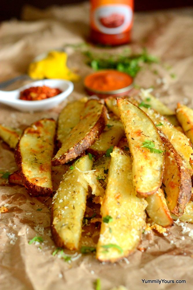 Baked potato wedges recipe that gives perfect crispy fries with a crispy outer layer, soft warm insides and crunchy skin. Garlic, herbs and Parmesan, Yummy!