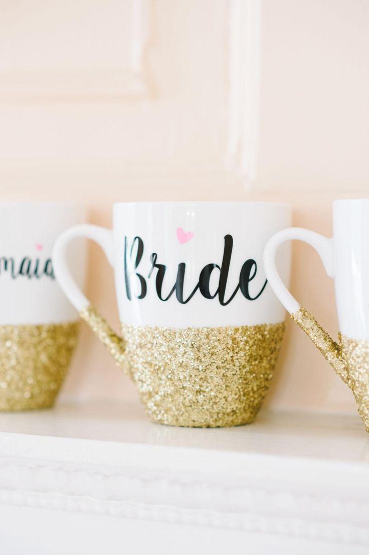 Gold glitter, coffee mugs, bride, bridesmaids gifts // Aaron and Jillian Photography