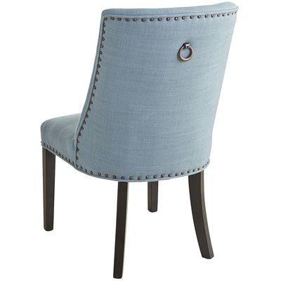 Corinne Linen Cornflower Dining Chair with Black Espresso Wood