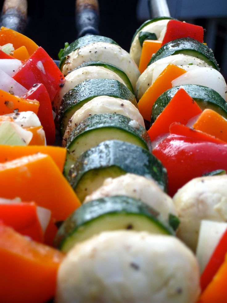 Marinated Vegetable Kabobs. You could also double the marinade and throw in some chicken.
