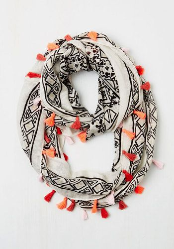 Infinity and Beyond Circle Scarf - Multi, Other Print, Tassels, Casual, Beach/Resort, Boho, Good