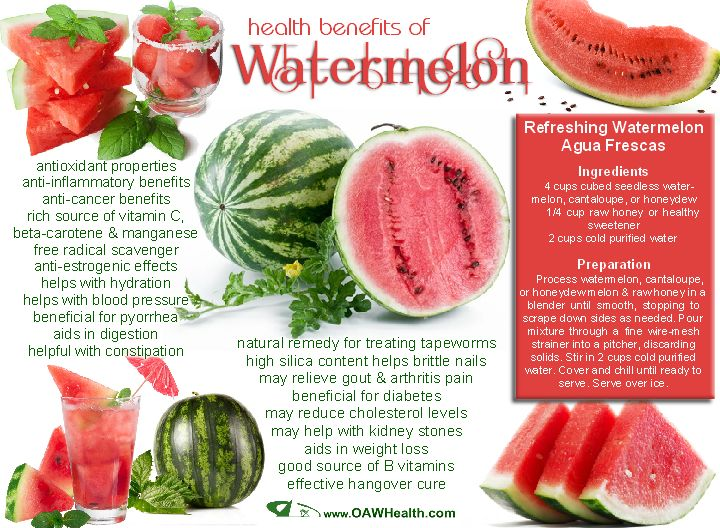 Benefits of watermelon include a high content of water (92%) making it thirst-quenching while providing natural hydration and refreshment to the body.