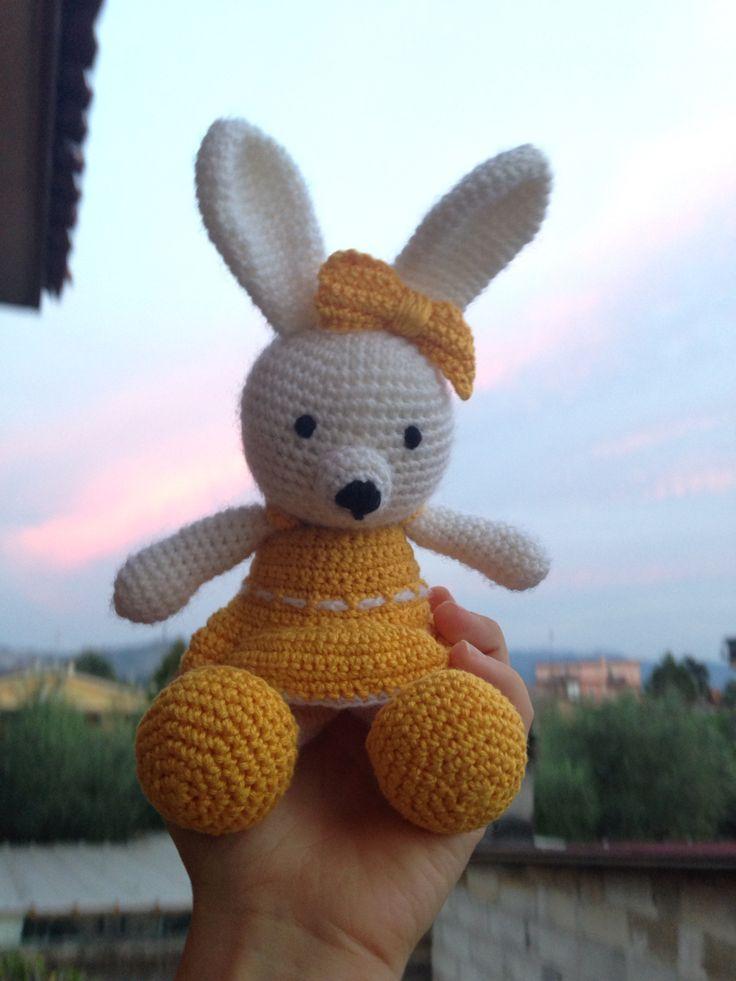 Sweety little bunny Princess:) #amigrumi #croshet #pattern #yellow #bunny