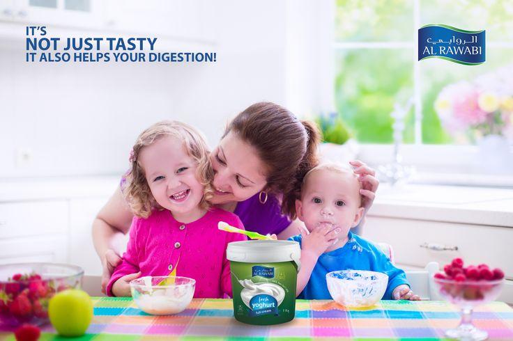 Enriched with probiotic culture that aids digestion, Al Rawabi's yoghurt is the perfect healthy snack زبادي الروابي هو وجبتك الخفيفة الصحية المثالية، بفضل احتوائه على خمائر البروبيوتيك التي تساعد على تحسين عملية الهضم