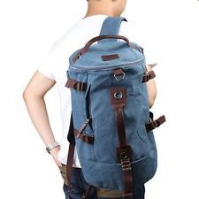 Large Style Canvas Travel Tote Luggage Duffel Bag Shoulder Backpack Color Blue