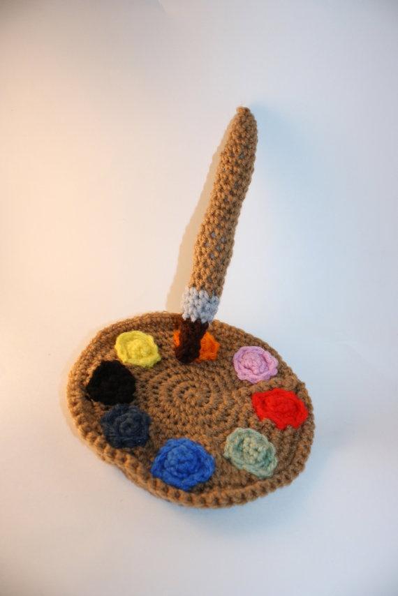 Paint Palette and Paintbrush Artist Set Crochet Plush ...