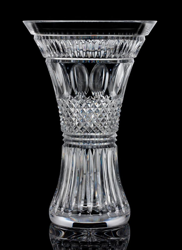 """Waterford Crystal Colleen Vase: Colleenis a name common in Ireland. It is derivedfrom the Irish """"cailín"""". This captivating vase boasts anornate pattern of intersecting and broad vertical cuts with that special Waterford Crystal sparkle. #WaterfordCrystal #Crystal #IrishCrystal #Vase #CrystalVase"""