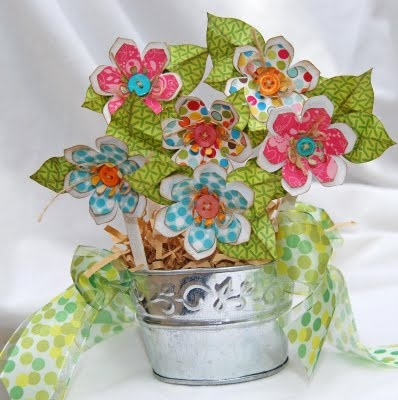 Cricut Flower Shoppe - love the metal flower pot. Looks like real flowers, eh?