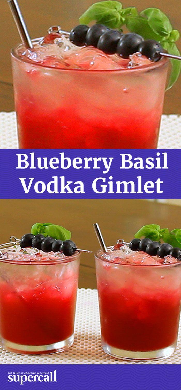 Blueberry Basil Vodka Gimlet, blueberries bring sweetness and basil ...