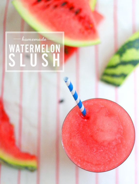 Watermelon Slush | Say Yes to Hoboken (via DailyCandy)  3 cups of sweet watermelon, de-seeded  1 lime  1 cup of ice  1 T of sugar (optional)  1 T of water (optional)