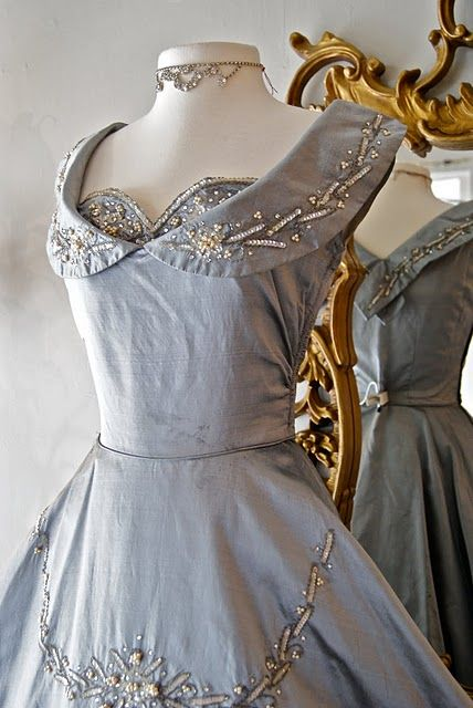 1950's silk cocktail dress in steel blue encrusted in pearls, sequins and rhinestones #1950s love the neckline