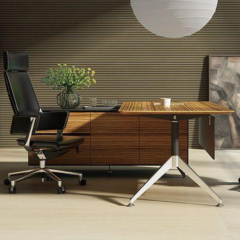 Arundel Executive Desk Zebrano | Left Return | Modern Digs Furniture