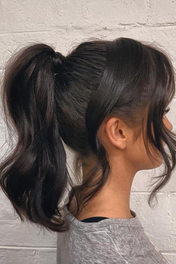 Pony Tail Hairstyles Dark Hair Medium Length Smooth With Loose Curls Richi Grisillo Medium Hair Styles Tail Hairstyle Prom Hair Medium