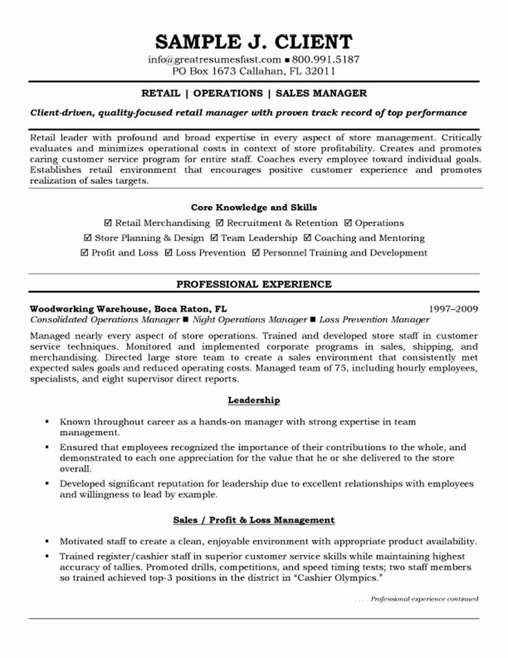 Resume Summary Examples for Retail Management Lovely