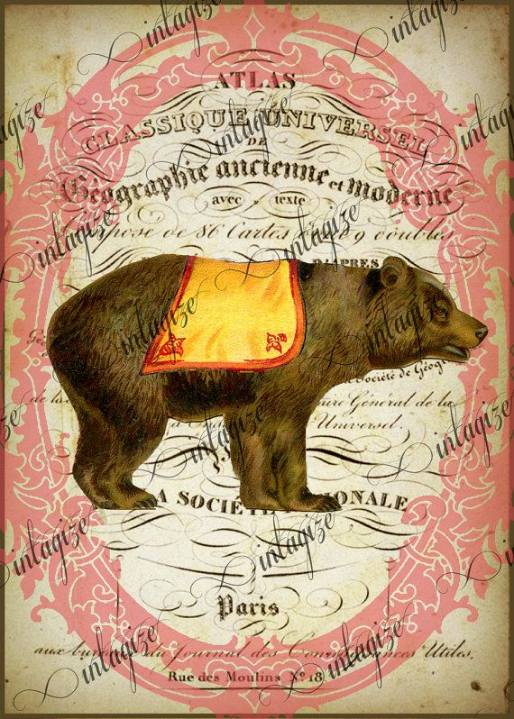 Instant Art Original Print French Circus Bear  le Cirque Series Ready for Framing, Quilt Making  INSTANT DIGITAL DOWNLOAD