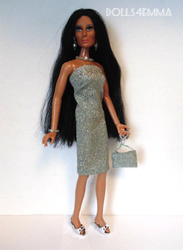 Mego CHER Doll Clothes HM Sexy Shimmer DRESS PURSE & JEWELRY Fashion NO DOLL d4e | eBay