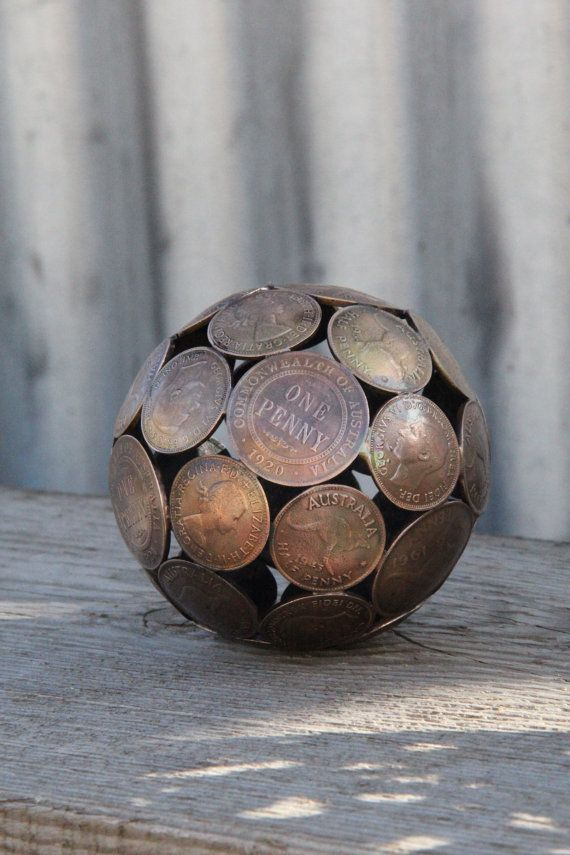 Mini mixed penny ball 2 Penny sphere Metal sculpture by Moerkey, $60.00
