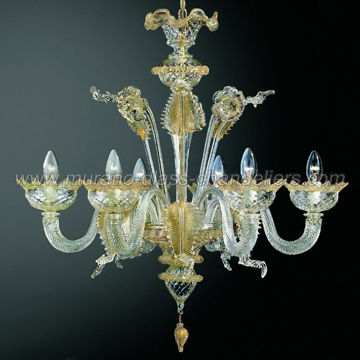 A Traditional Small Murano Glass Chandelier With 6 Arms The Elegant Design And Gold Finishes Make This True Classic