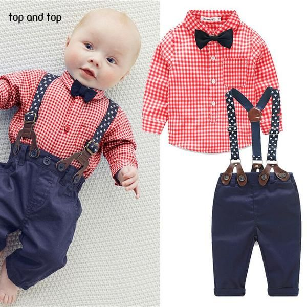 Fashion kids clothes  grid shirt + suspender newborn Long sleeve baby boy clothes Bowknot  gentleman suit free shipping