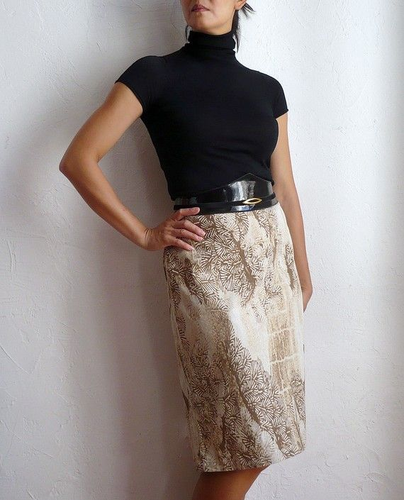 French Designer TRUSSARDI Jeans Pencil Skirt by bOmode on Etsy, $39.00