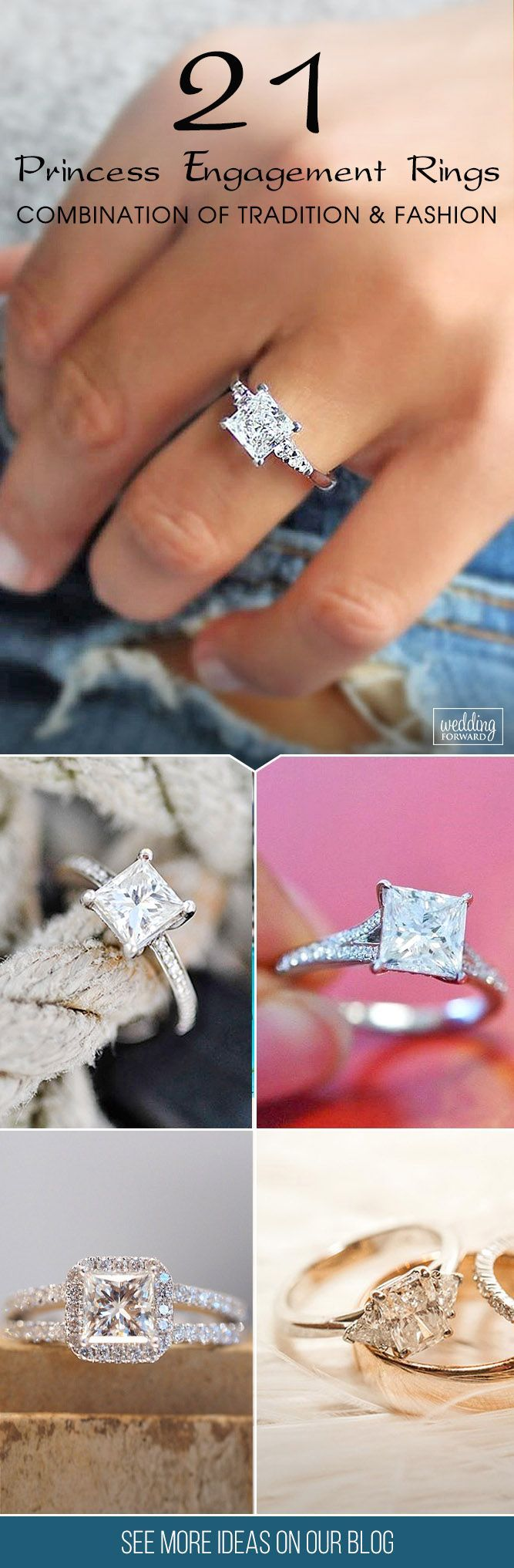21 Breathtaking Princess Cut Engagement Rings ❤ Princess cut engagement rings are combination of tradition and fashion. Choose princess cut diamond rings you will get unique, modern shape and amazing sparkling appearance for lower price.