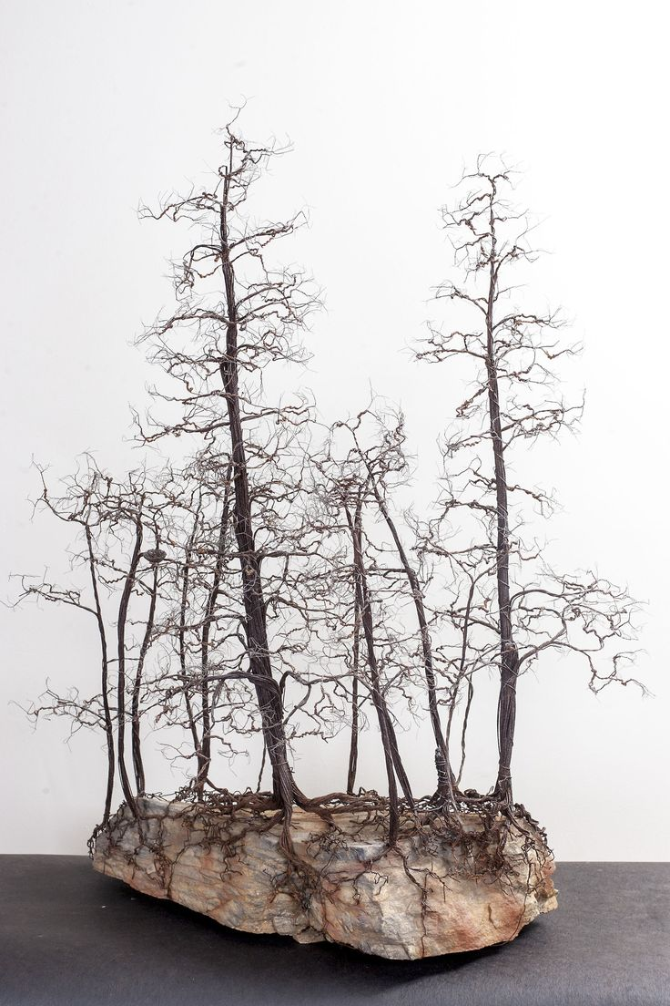 Delicate and Detailed Copper Wire Bonsai Tree Sculptures