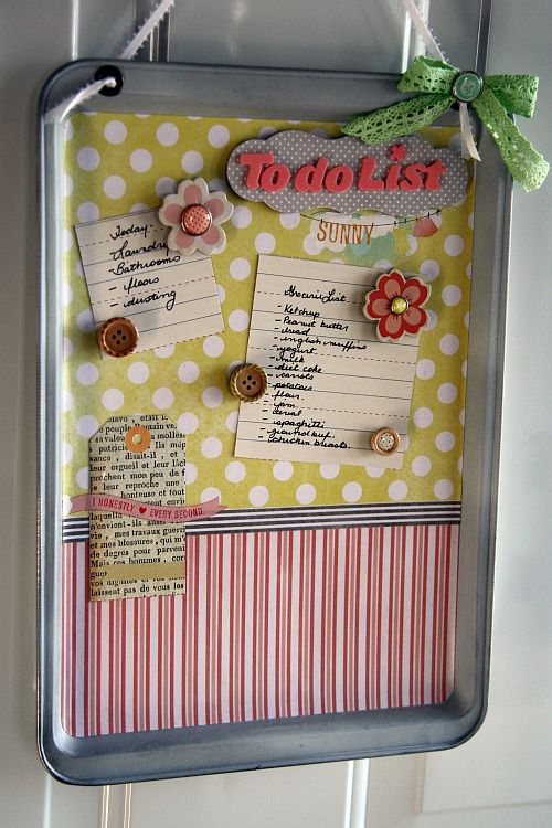 Magnetic Memo Board by Cindy Stevens - I've been meaning to make one of these for a while now... I just need to DO IT!!! haha I ♥ the Chipboard Magnets!! :)