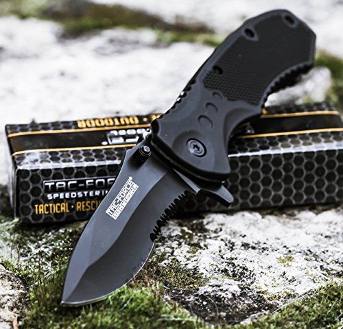 TAC FORCE BLACK TACTICAL Pocket Knife Folding Blade NEW!. For product & price info go to:  https://all4hiking.com/products/tac-force-black-tactical-pocket-knife-folding-blade-new/