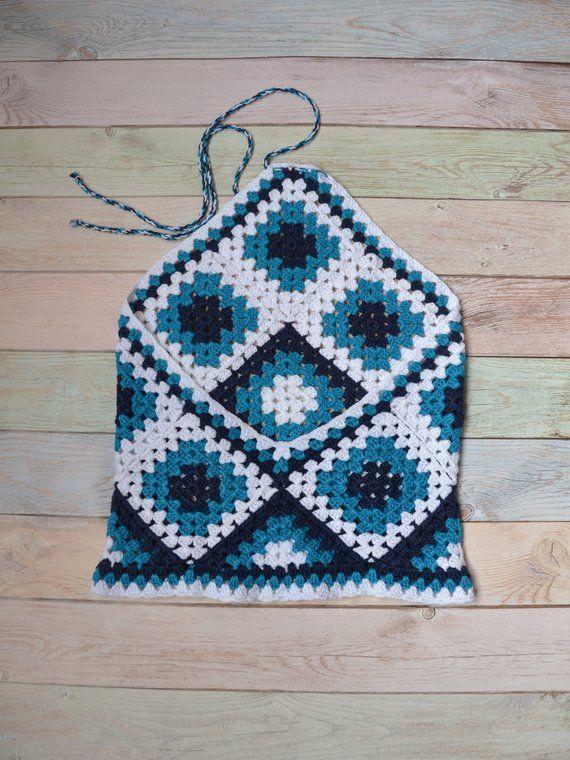 Crochet abuela 's cuadrado algodón verano top ético boho multicolor hombros abiertos espalda blusa Beachwear túnica hecho a mano ganchillo femenino top