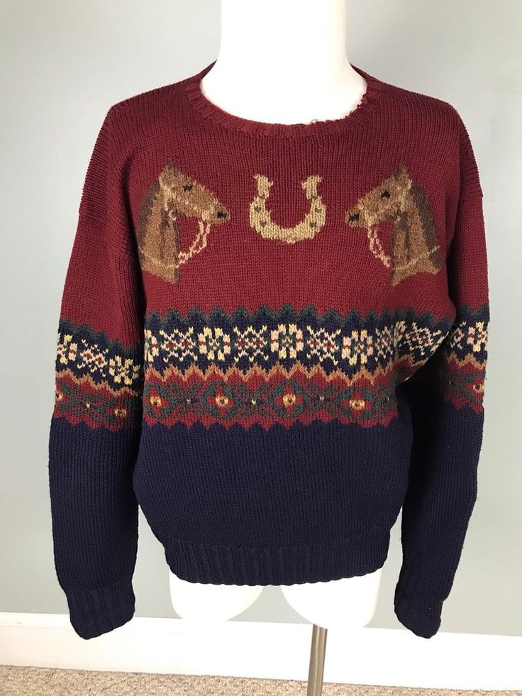 Large Polo By Ralph Lauren Mens Wool Sweater Hand Knit Equestrian Horse #LaurenRalphLauren #Crewneck