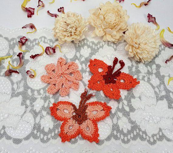 3 orange lace appliques crochet butterflies crochet flower by Rocreanique on Etsy