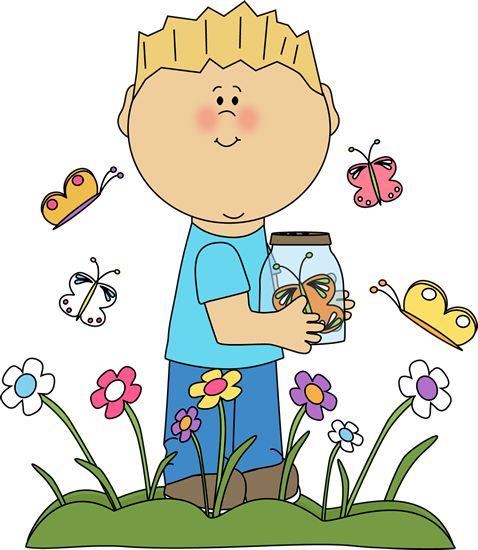 Spring Clip Art | Boy in a Butterfly Patch Clip Art Image - boy standing a patch of ...