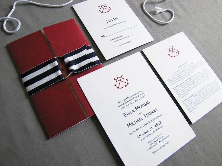 OH my goodness...love the ribbon looking belt!!!!!   Modern Nautical Wedding Invitations by wickedbride on Etsy. $100.00, via Etsy.