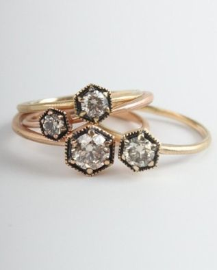 Hexagon diamond rings / catbirdnyc